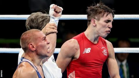 Michael Conlan shows his disgust after his controversial Olympic quarter-final defeat by Russia's Vladimir Nikitin