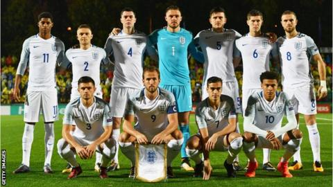 England team that started the game against Lithuania