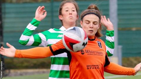 Glasgow City's Savannah Jordan holds off Celtic's Darcy McFarlane