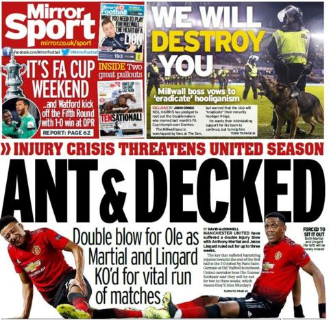 Mirror back page on Saturday