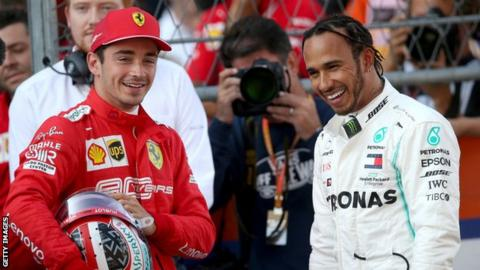 Charles Leclerc (left) and Lewis Hamilton