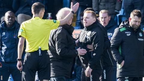 Hibernian manager Neil Lennon sent off by referee Kevin Clancy