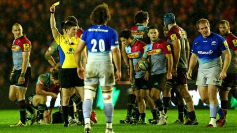 Rhys Gill (blue shirt, far right) is sent off against Harlequins
