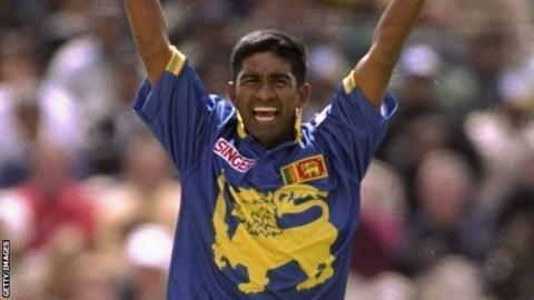 Pramodya Wickramasinghe during the 1999 Cricket World Cup