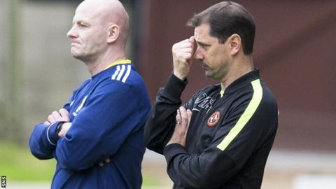 Jackie McNamara (right) looks frustrated in the Dundee United dugout