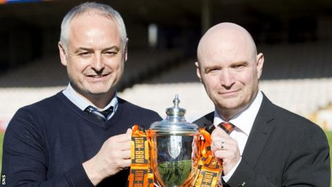 Dundee United manager Ray McKinnon and chairman Stephen Thompson with the Irn Bru Cup