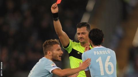 Ciro Immobile is sent off playing for Lazio