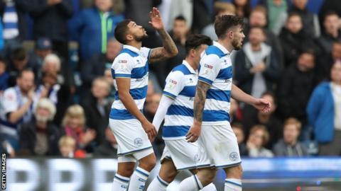 Nahki Wells celebrates scoring for QPR vs Blackburn