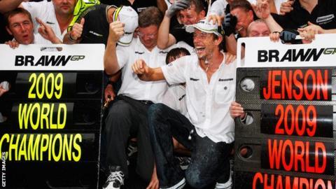 Jenson Button celebrates winning the 2009 world championship