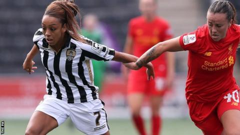 Jess Clarke (left) holds off Liverpool's Natasha Harding