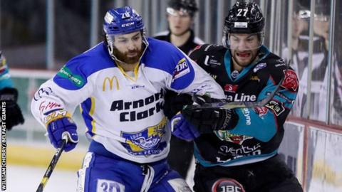 Fife's Danick Gauthier and Kendall McFaull of Belfast Giants go shoulder to shoulder during their game on Saturday