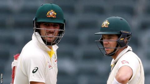 Australia bowler Pat Cummins (left) and captain Tim Paine