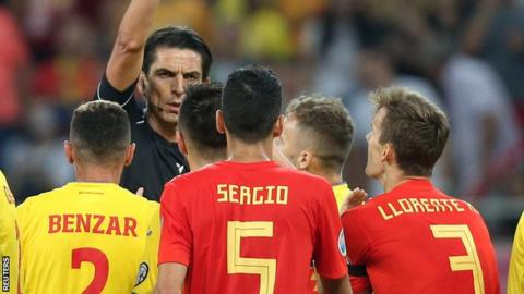 Spain defender Diego Llorente was sent-off