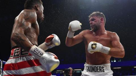 Saunders (right) has defended his world title three times since winning it in 2015