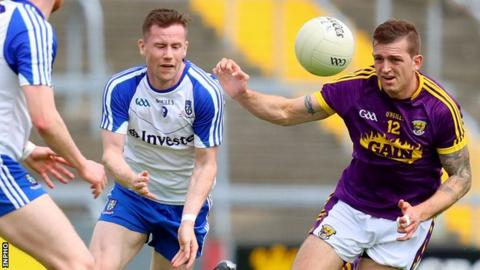 Monaghan's Karl O'Connell and Adrian Flynn in action at Wexford Park on Saturday afternoon