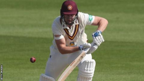 Alex Wakely batting for Northants