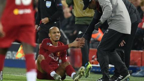 Fabinho was injured during the Champions League game against Napoli