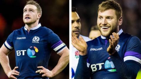 Scotland's Stuart Hogg and Finn Russell