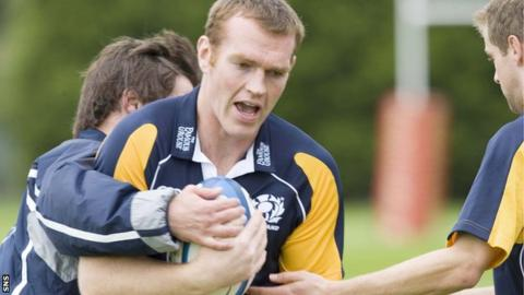 Jon Petrie in training with Scotland