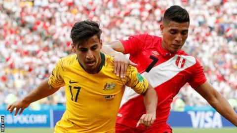 Daniel Arzani (left) in action for Australia against Peru in the 2018 World Cup