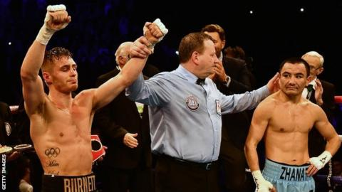 Ryan Burnett (left) is declared the winner after beating Zhanat Zhakiyanov on a unanimous points decision in Belfast last October