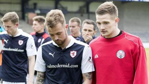 Danny Handling (centre) shows his disappointment with Raith Rovers