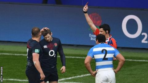 Elliot Daly being sent off against Argentina