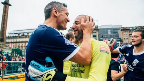 Craig McManus (left) celebrates as Scotland win their opening game