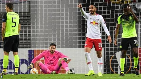 Matheus Cunha celebrates opening the scoring for Leipzig