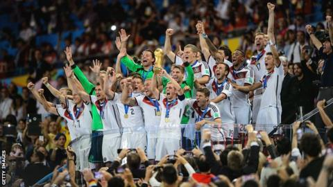 Germany celebrate winning 2014 World Cup