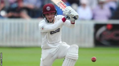 Somerset's teenage wicketkeeper Ryan Davies made his second first-class fifty