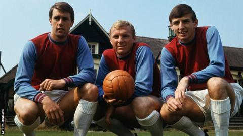 Geoff Hurst, Bobby Moore and Martin Peters