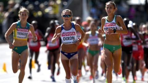 Alyson Dixon running at the World Athletics Championships in London in 2017