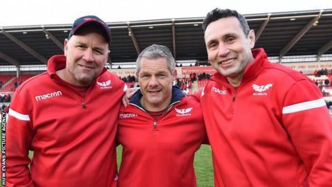 Wayne Pivac, Byron Hayward and Stephen Jones