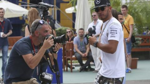 Lewis Hamilton in the Hungaroring paddock