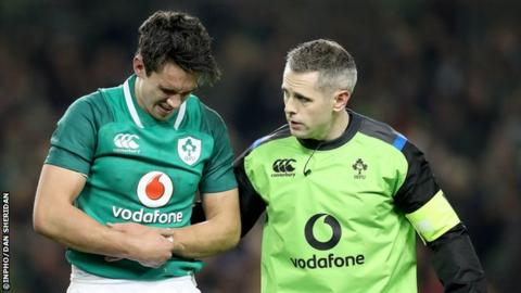 Carbery was forced to leave the field in the 65th minute of the victory over Fiji after damaging his left wrist