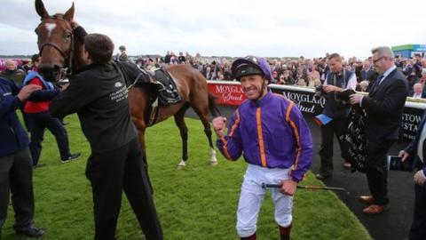 Frankie Dettori celebrates after winning on Wicklow Brave