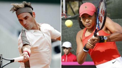 Roger Federer and Naomi Osaka