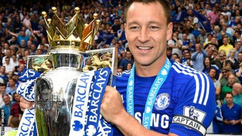 John Terry celebrates winning the Premier League in May 2015
