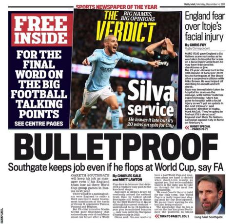 The back page of Monday's Daily Mail