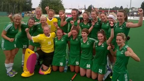 Ireland celebrate after beating Belarus in their Eurohockey Championships II semi-final