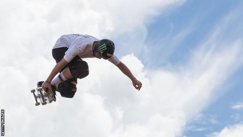 Sam Beckett skateboarding