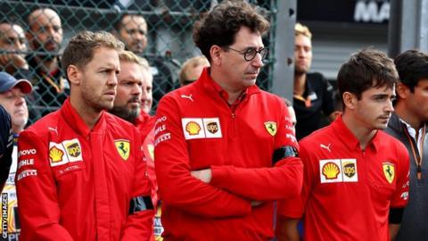 Sebastian Vettel, Mattia Binotto, and Charles Leclerc