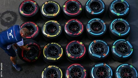 Formula 1 tyres being matched up