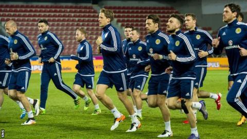 The Scotland squad train in Prague