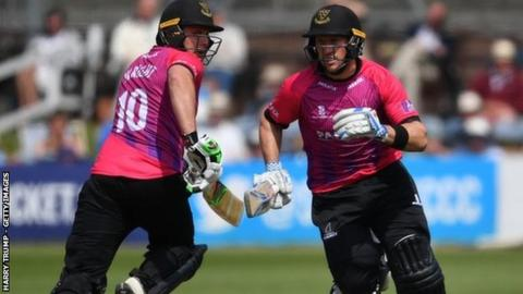Luke Wright's biggest partnership was 107 for the second wicket with Harry Finch (right), who made 35