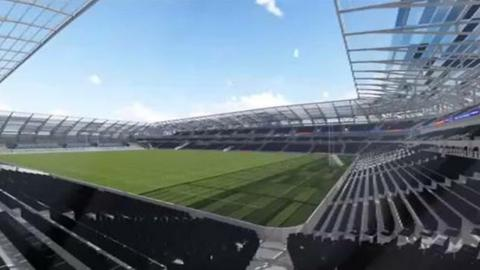 The latest design for the proposed new Casement Park was shown to spectators at last year's Ulster Football Final