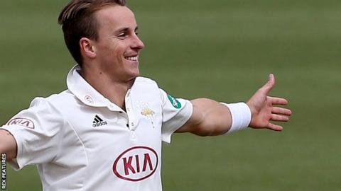 Tom Curran celebrates a Surrey wicket