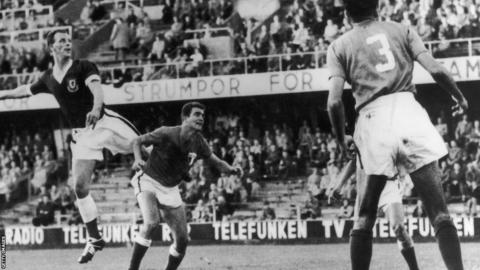 John Charles in action against Mexico at the 1958 World Cup.