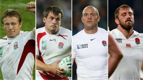 Jonny Wilkinson, Mark Cueto, Mike Tindall and Chris Robshaw